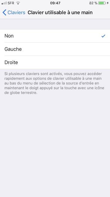 Activer le clavier a une main sur iPhone reglages