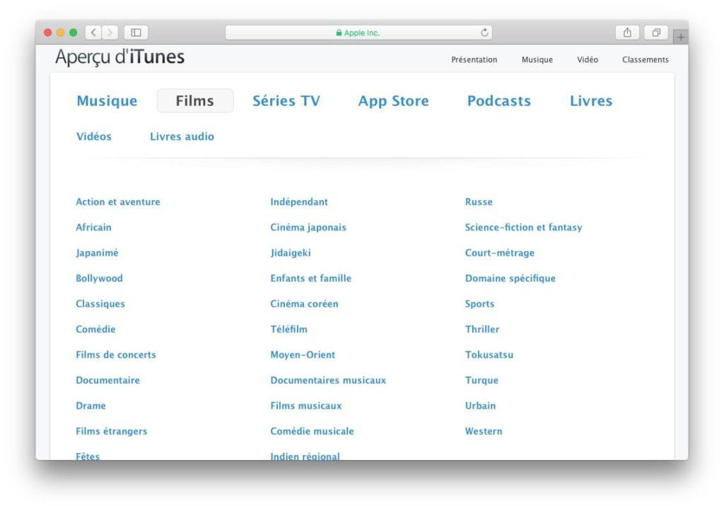 Afficher toutes les applications App Store liste films