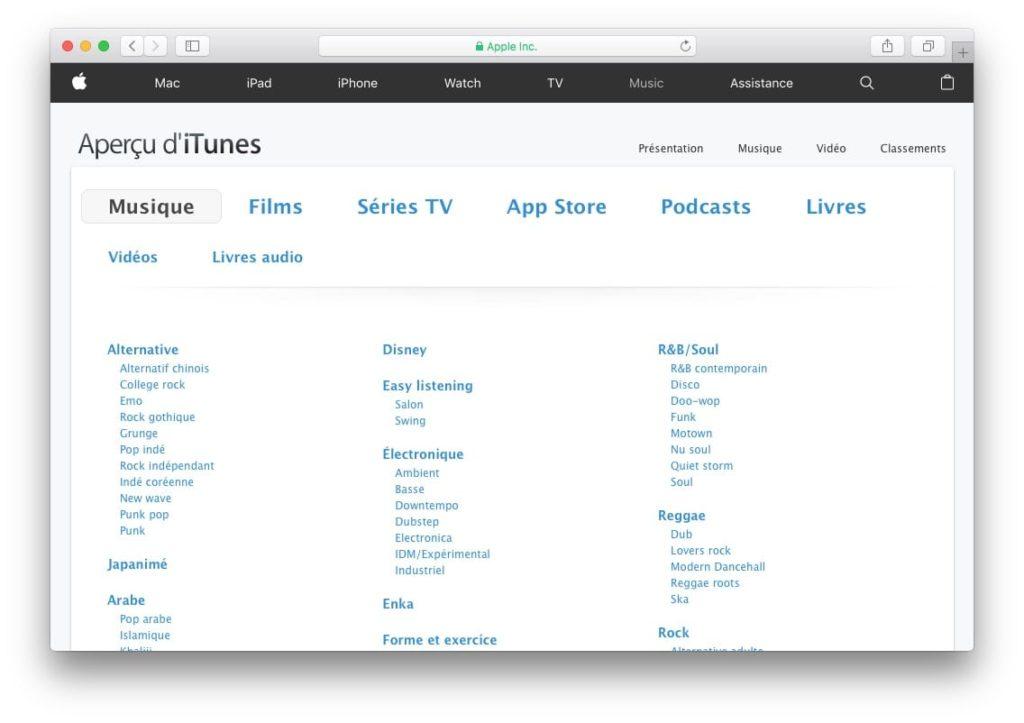 Afficher toutes les applications App Store liste musique