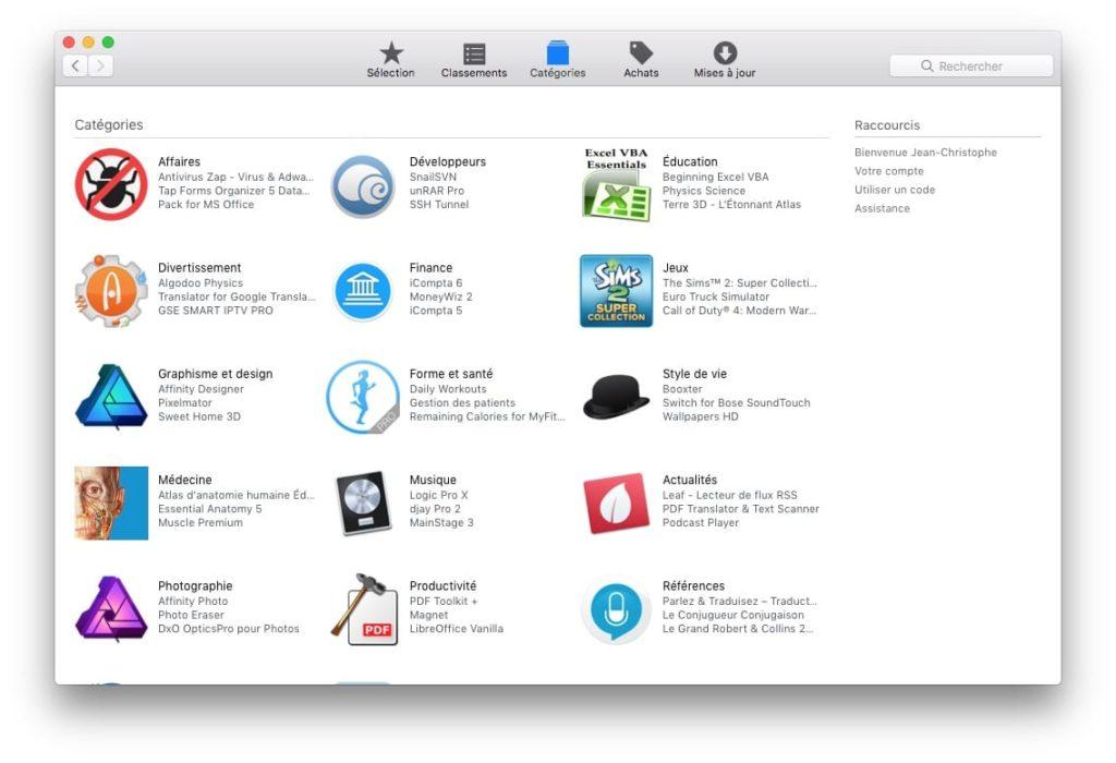 Afficher toutes les applications App Store mac os