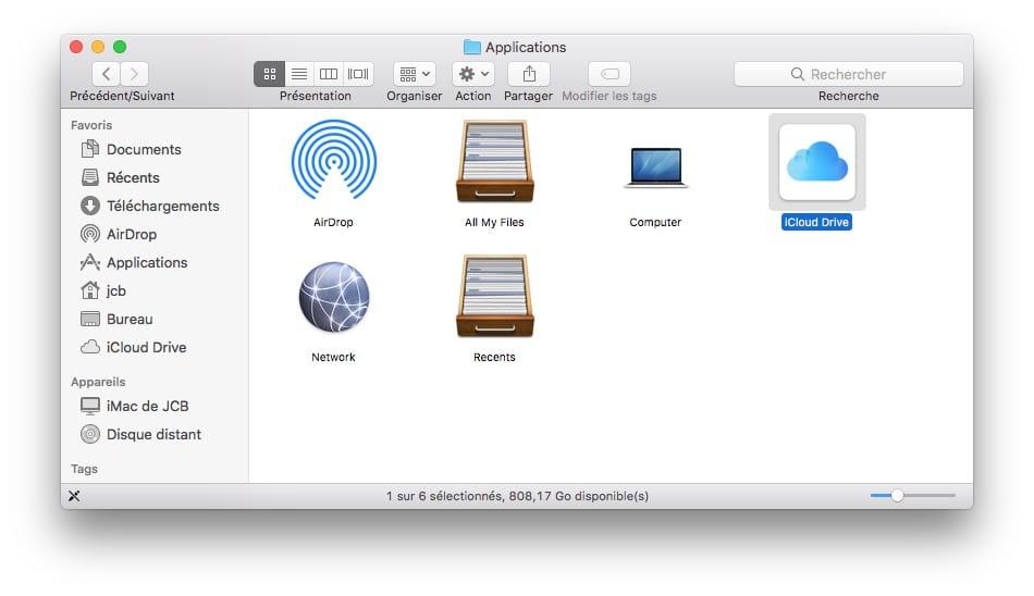 Ajouter iCloud Drive dans le Dock du Mac glisser deposer icone