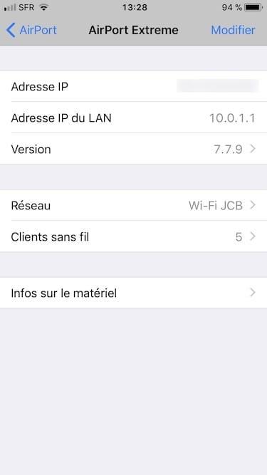 Mise à jour Apple Airport iphone ipad ou ipod