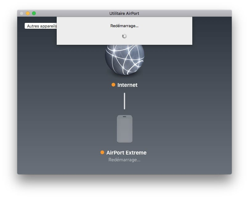 mise à jour Apple Airport redemarrage