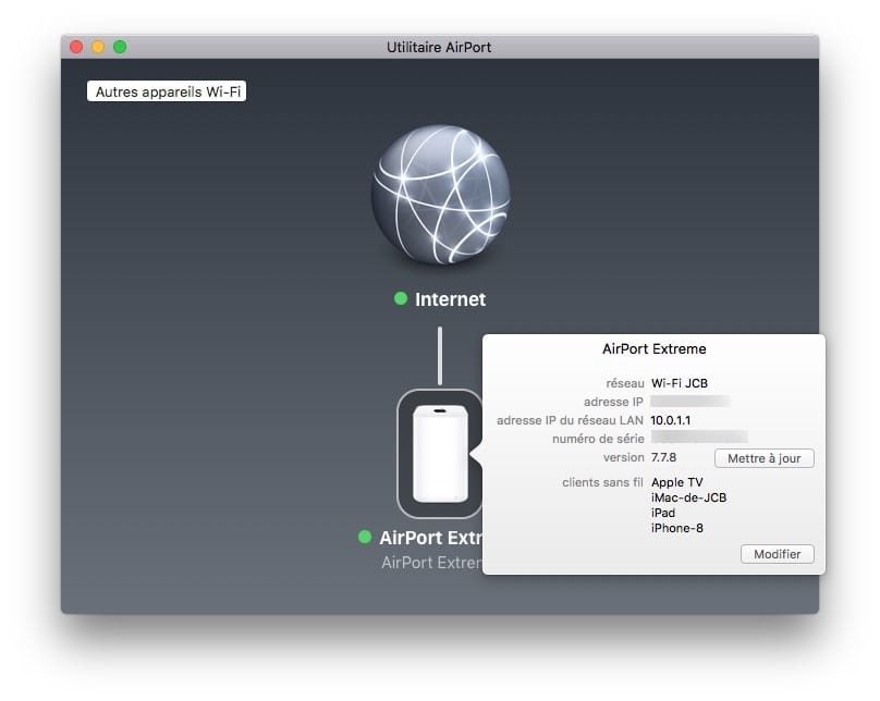 mise à jour Apple Airport version 7.7.8