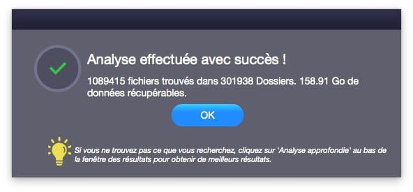 Recuperation de donnees sur Mac analyse complete