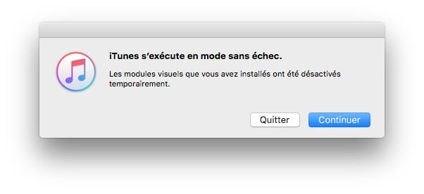 iTunes Mac ne fonctionne plus demarrage mode sans echec
