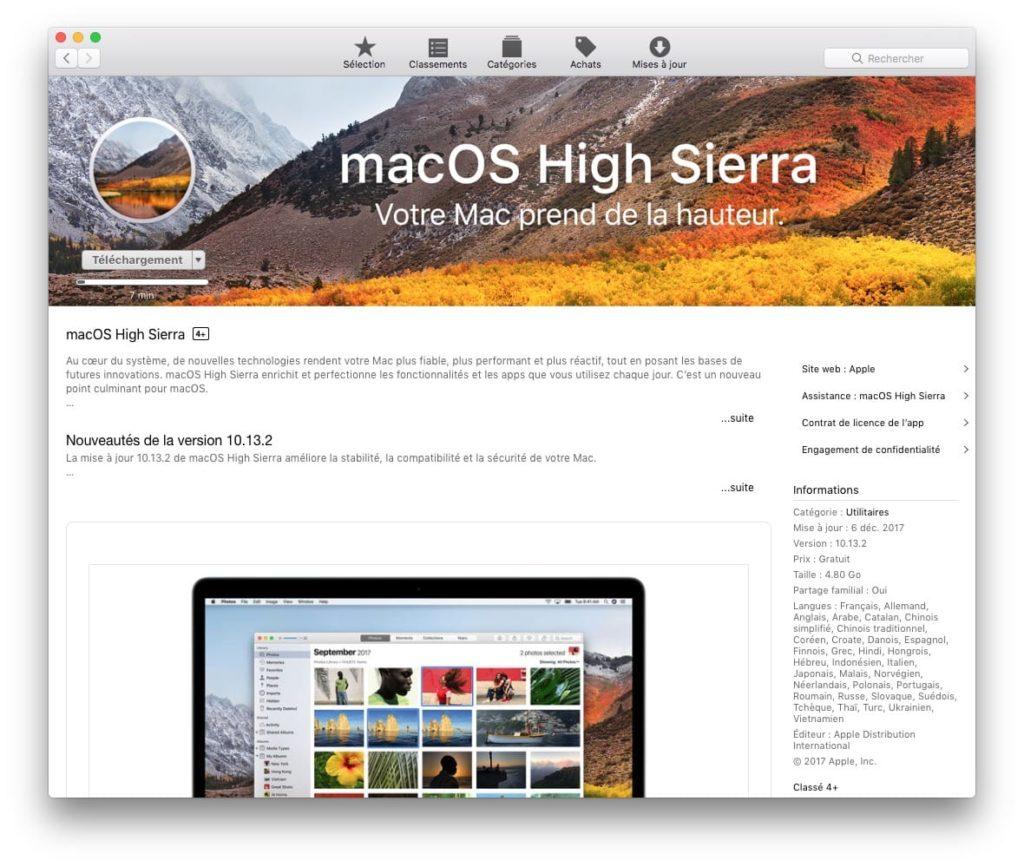 macOS High Sierra 10.13.2 telecharger sur app store