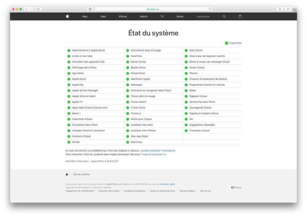 Apple System Status tout fonctionne bien
