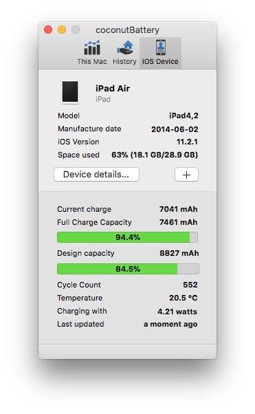 Verifier la batterie de son iPad avec coconut