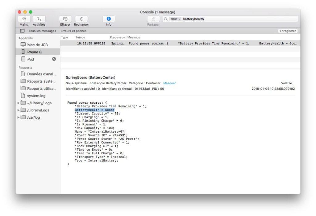 Verifier la batterie de son iPhone Console Mac