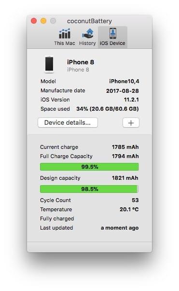 Verifier la batterie de son iPhone avec coconut