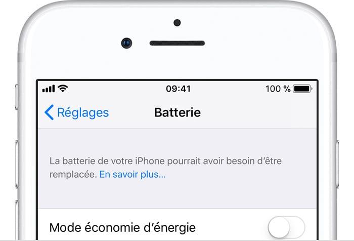 Verifier la batterie de son iPhone reglages batterie