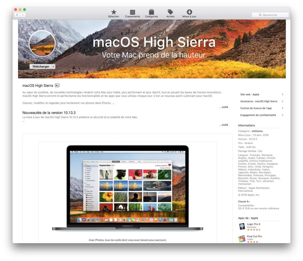 macOS High Sierra 10.13.3 Mac App Store