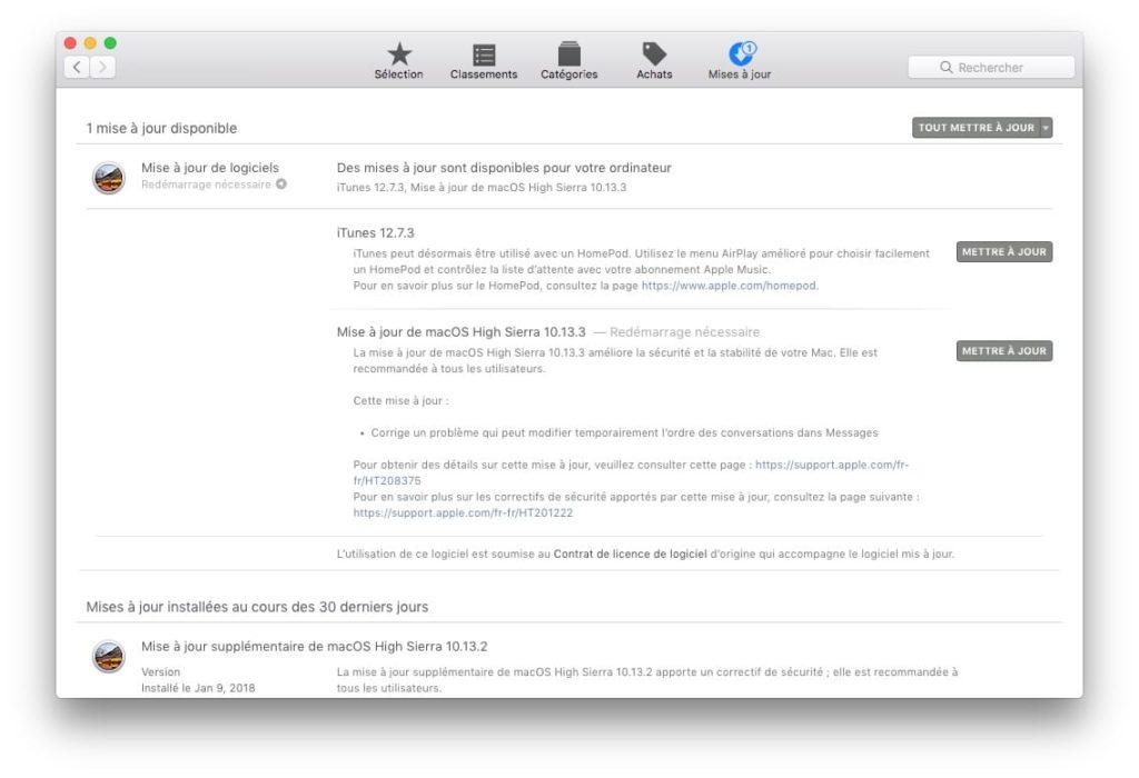 macOS High Sierra 10.13.3 mise a jour Mac