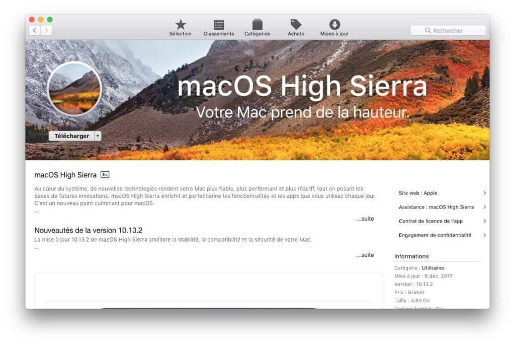 macos High Sierra 10.13.2 mise a jour supplementaire app store