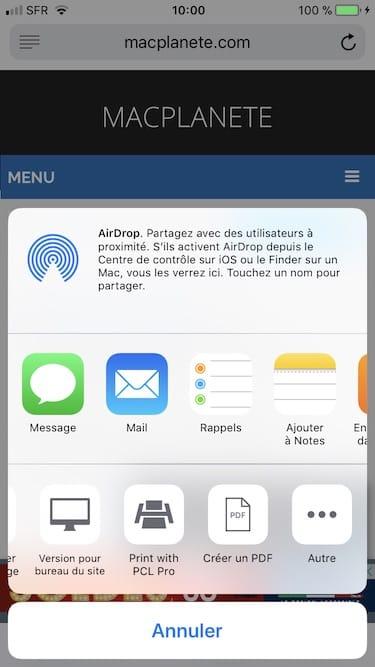 Enregistrer une page web en PDF sur iPhone creer un PDF