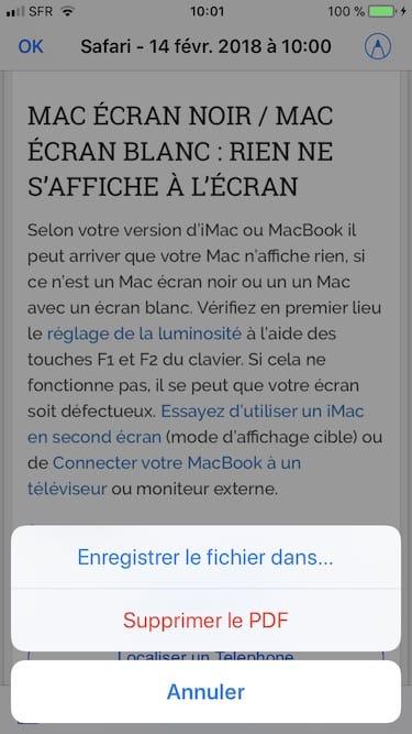 Enregistrer une page web en PDF sur iPhone enregister le fichier dans