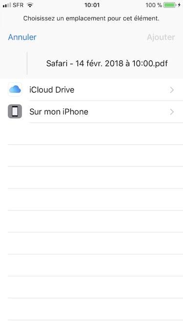 Enregistrer une page web en PDF sur iPhone sur icloud drive ou dans iphone