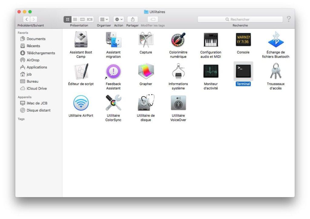 Telecharger le fichier d'installation complet de macOS High Sierra avec Terminal