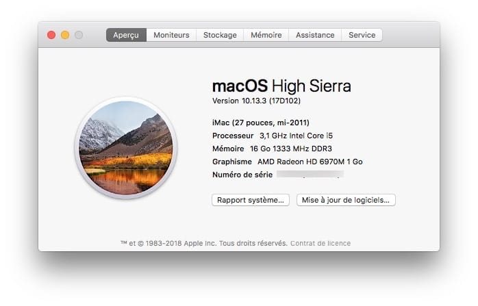macos High Sierra 10.13.3 mise a jour supplementaire telecharger