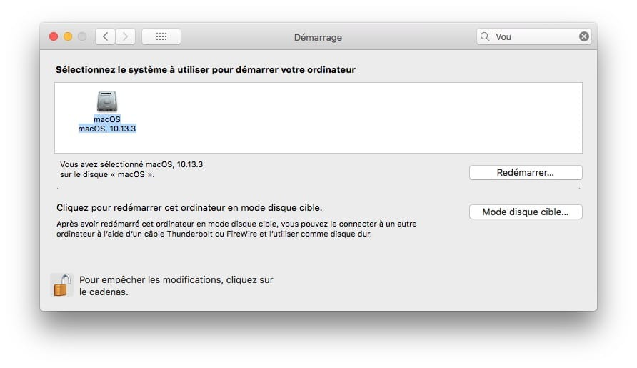 selectionner disque demarrage mac