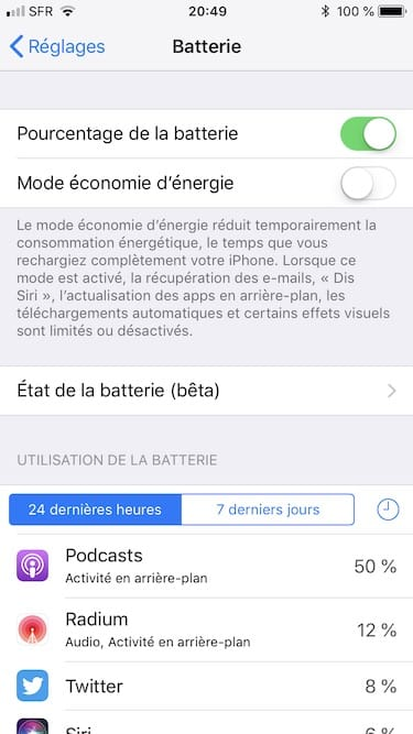 afficher la capacit batterie de son iphone sous ios 11 3 macplanete. Black Bedroom Furniture Sets. Home Design Ideas