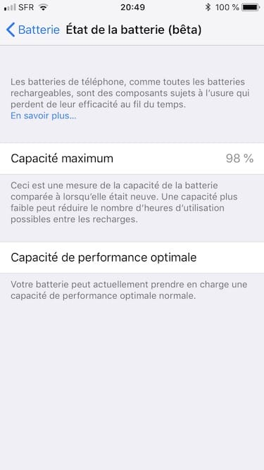 Afficher la capacite batterie de son iPhone ios 11.3 performance optimale