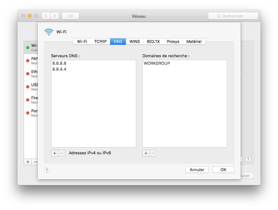 Changer DNS sur Mac