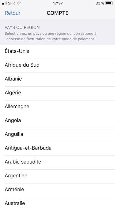 Changer le pays de son App Store USA France Belgique
