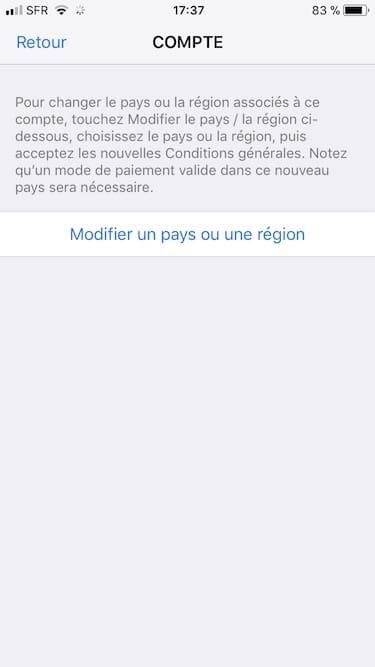 Changer le pays de son App Store modifier un pays