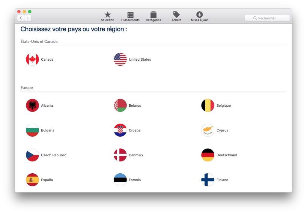 Changer le pays de son App Store sur MacOS