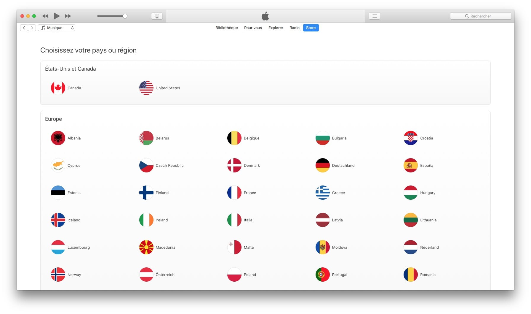 how to change the region on app store