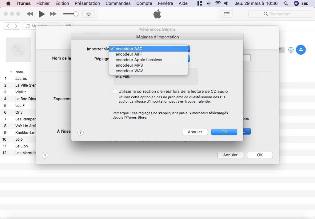 Importer un CD audio avec iTunes Mac format AAC AIFF Apple Lossless MP3 WAV