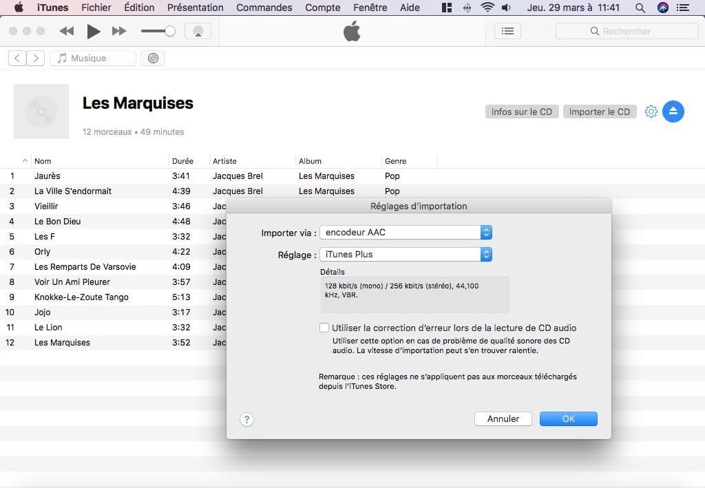 Importer un CD audio avec iTunes sur Mac importer le CD
