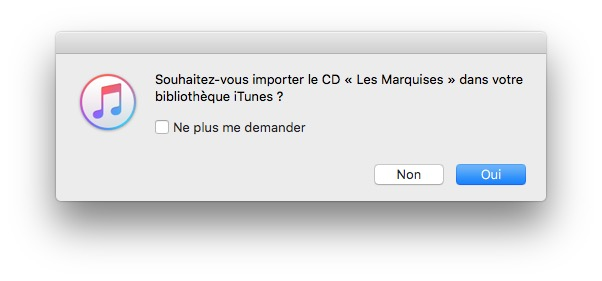 Importer un CD audio avec iTunes Mac sur macOS