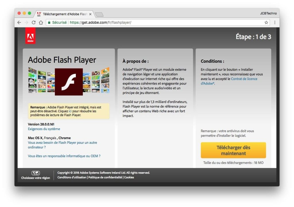 Installer Flash Player macOS High Sierra telecharger sur le site Adobe
