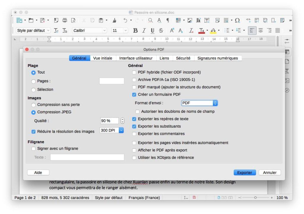 convertir un fichier Word en PDF sur Mac avec LibreOffice Mac