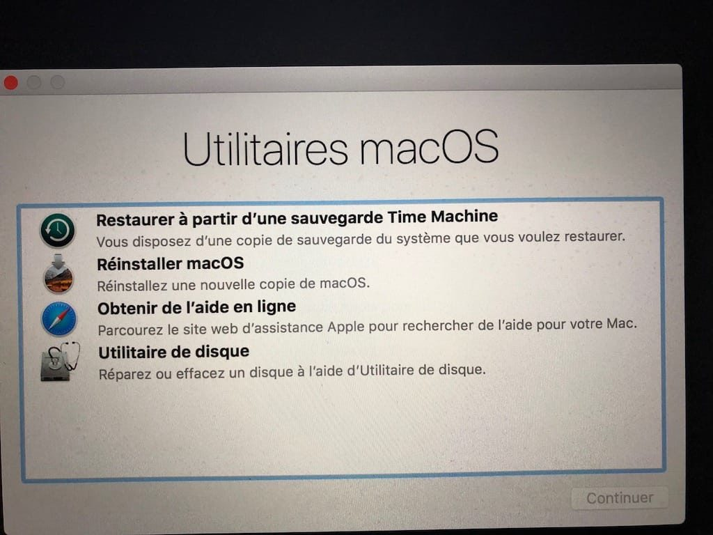 Démarrer son Mac en mode Recovery cmd r
