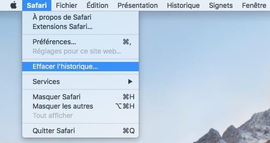 Effacer l'historique de Safari menu deroulant