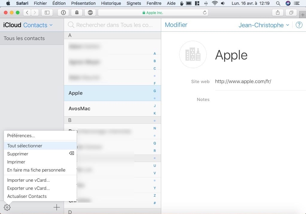 Exporter ses Contacts iphone icloud tout selectionner
