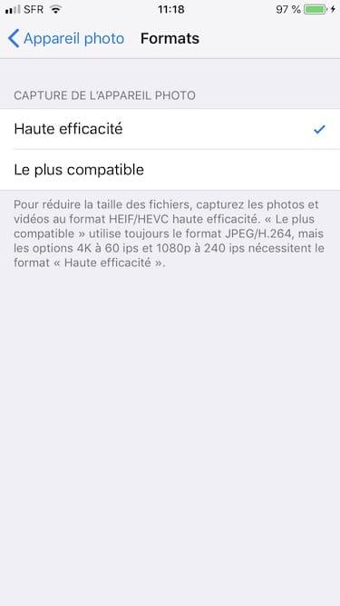 Prendre les photos en HEIC sur iPhone