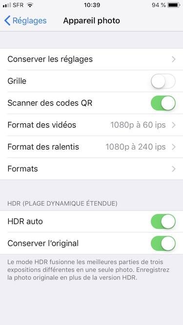 Prendre les photos en JPEG sur iPhone et pas en HEIF menu formats