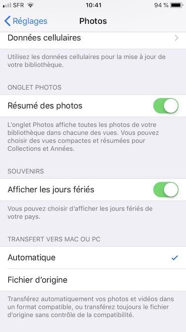 Prendre les photos en JPEG sur iPhone menu Automatique