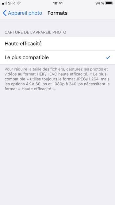 Prendre les photos en JPEG sur iPhone menu Le plus compatible