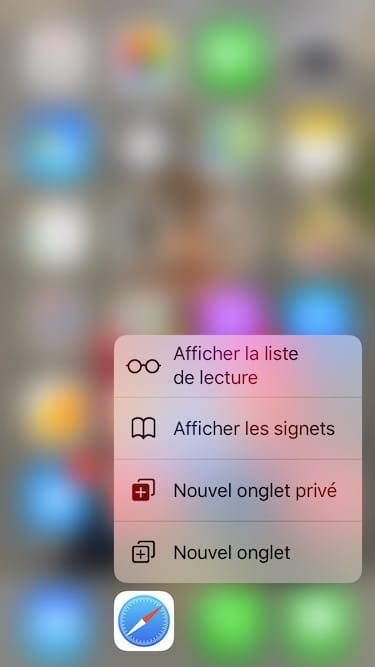 Safari iPhone activation navigation privee 3d touch