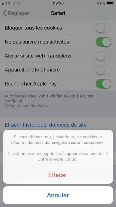 Vider le cache de Safari iPhone Effacer en une fois