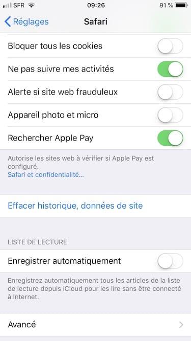 Vider le cache de Safari iPhone effacer historique donnees de site