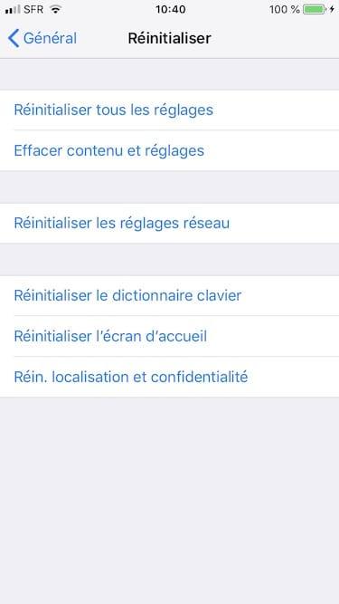 effacer contenu et reglages iphone ipad