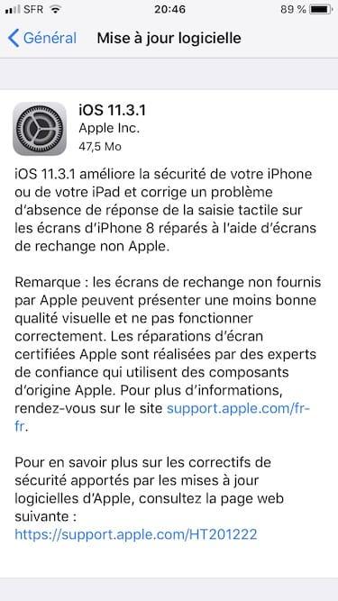 iOS 11.3.1 maj logicielle iphone