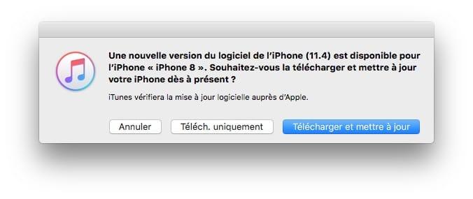 iOS 11.4 mise a jour avec iTunes 12.7.5